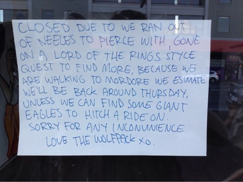 This Tattoo Shop Has the Best Explanation for Being Closed