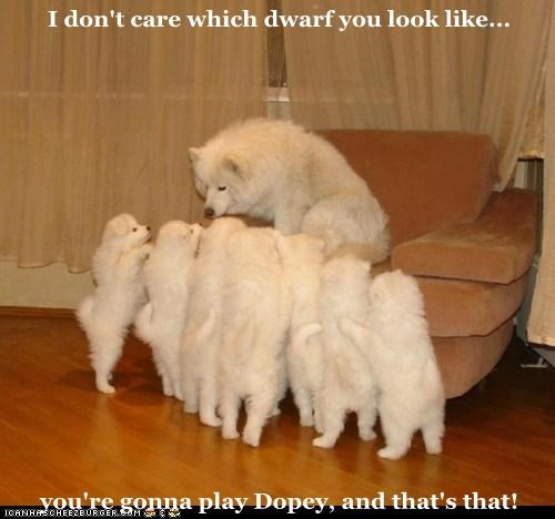 I don't care which dwarf you look like...  you're gonna play Dopey, and that's that!