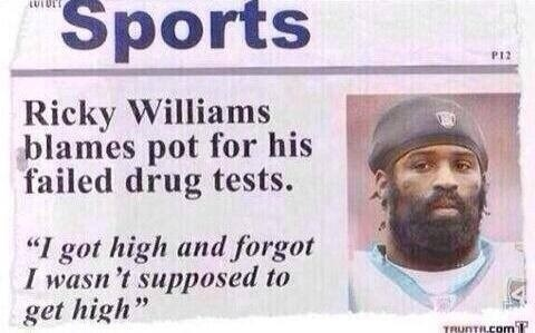 getting high,sports,ricky williams