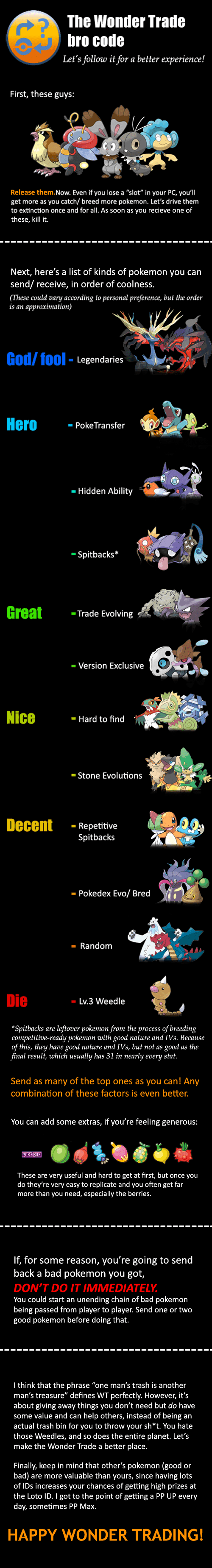 Remember to Follow the Wonder Trade Bro Code