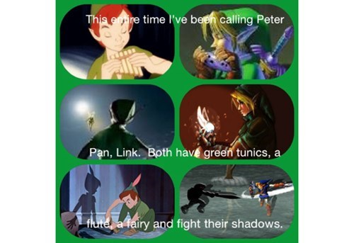 peter pan,legend of zelda