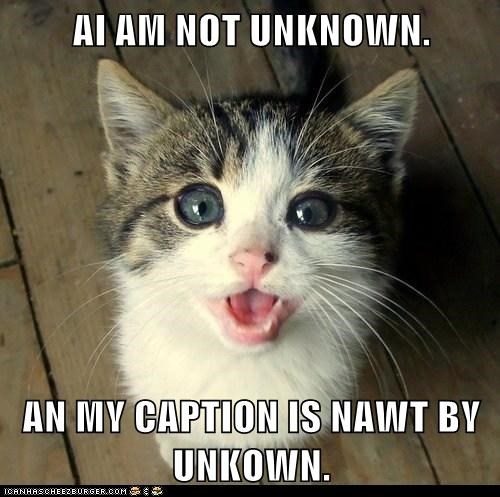AI AM NOT UNKNOWN.  AN MY CAPTION IS NAWT BY UNKOWN.
