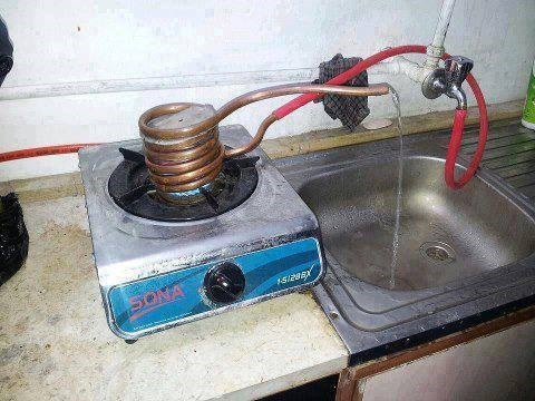 hot plate,copper tubing,hot water,faucet,rubber hose,there I fixed it