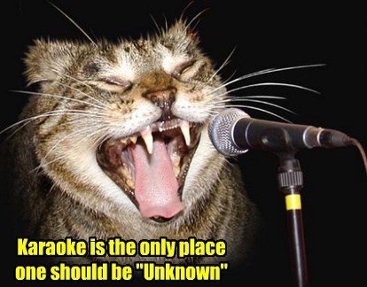 "Karaoke is the only place one should be ""Unknown"""