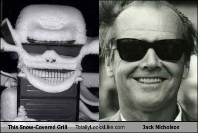 This Snow-Covered Grill Totally Looks Like Jack Nicholson