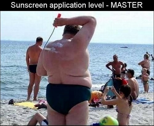 beach,paint roller,there I fixed it,sunscreen,g  rated