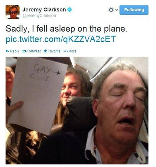 jeremy clarkson,asleep,pranks,celebrity twitter,top gear