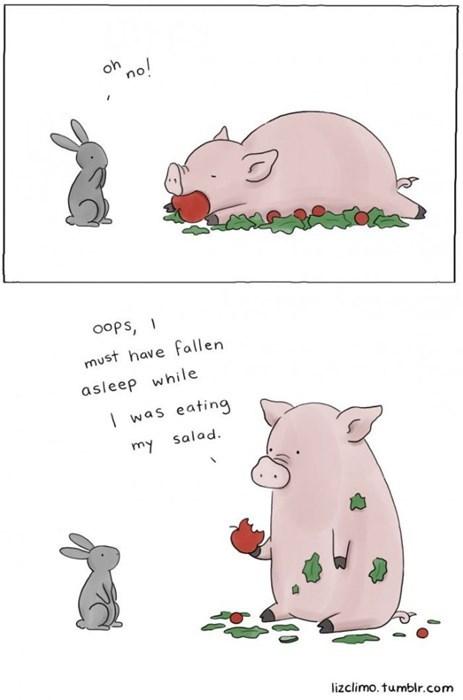 comics,confused,food,pig,rabbits