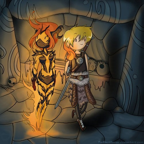crossover,fan art,Skyrim,adventure time