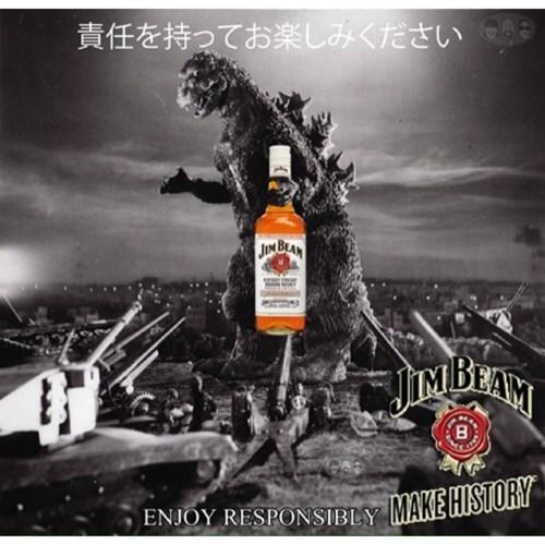 whiskey,godzilla,ads,jim beam,funny