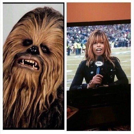 pam oliver,chewbacca,totally looks like