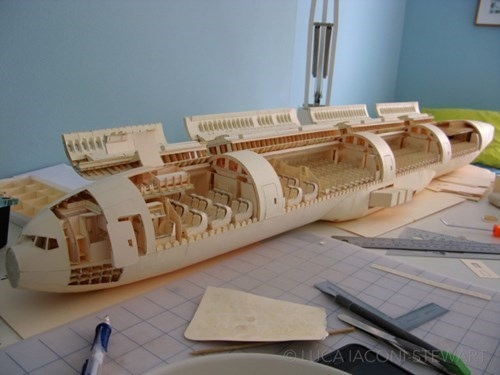 Amazing Structure of the Day: Boeing 777 Model Built Out of Manila Folders