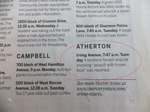 Atherton is the Home of the World's Dumbest First World Problems, if You Can Believe These Ridiculous Newspaper Clips