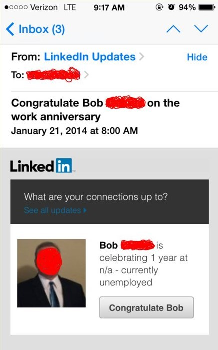 LinkedIn Likes to Rub It In