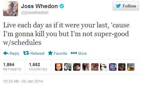 Joss Whedon,celebrity twitter,killing characters