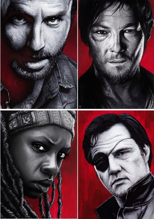 art,daryl dixon,Rick Grimes,sketches,The Walking Dead,michonne,the governor