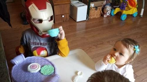kids,siblings,parenting,iron man,tea parties