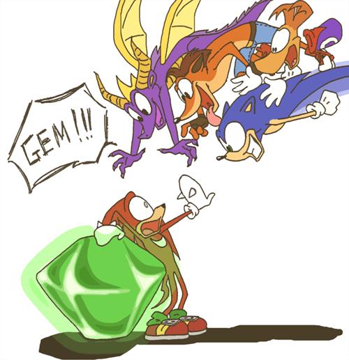 crash bandicoot,ray man,knuckles,video games,chaos emerald,spyro