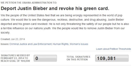 Petition of the Day: Deport Justin Bieber Petition Reaches 100k; White House Must Respond