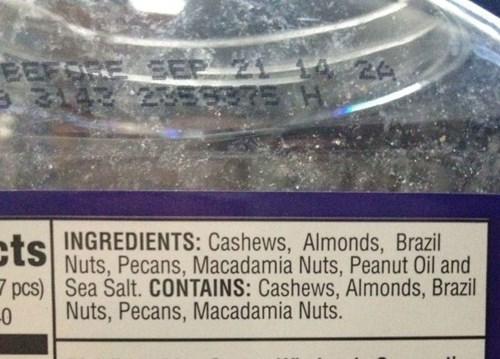 nuts,monday thru friday,labels,work