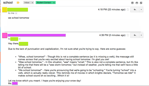 Student Sends Atrociously Punctuated Email to Her Teacher, Teacher Responds Accordingly