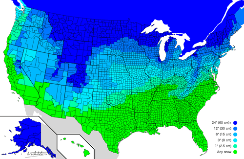 Infographic of the Day: A Map of How Much Snow it Takes to Cancel School Across the United States