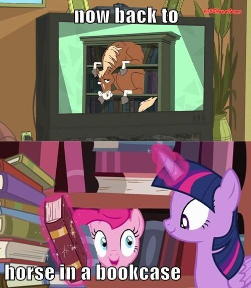 bookcase,surprise,pinkie pie,phineas and ferb