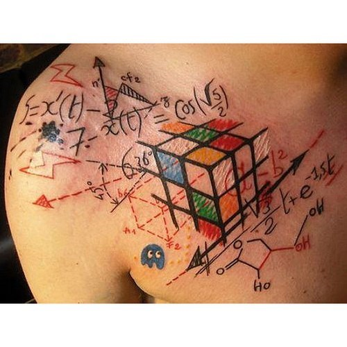 tattoos,rubick-cube,math,funny