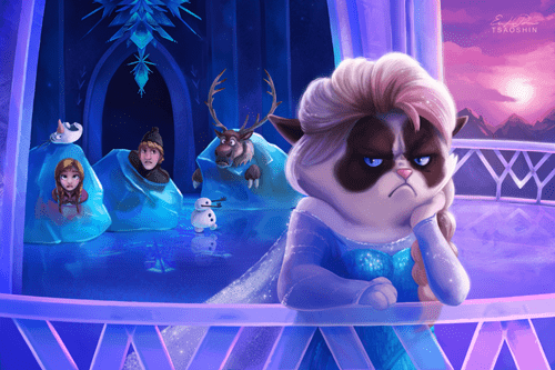 Grumpy Cat,fan art,frozen