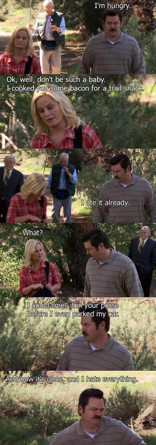parks and recreation,hungry,ron swanson,snacks