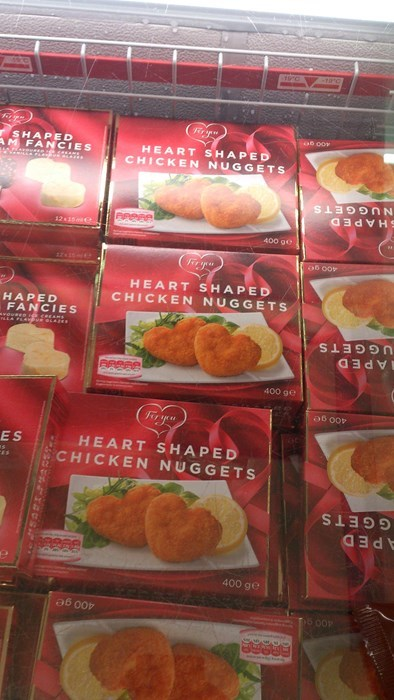 heart shaped,dinner,funny,Valentines day,chicken nuggets,g rated,dating