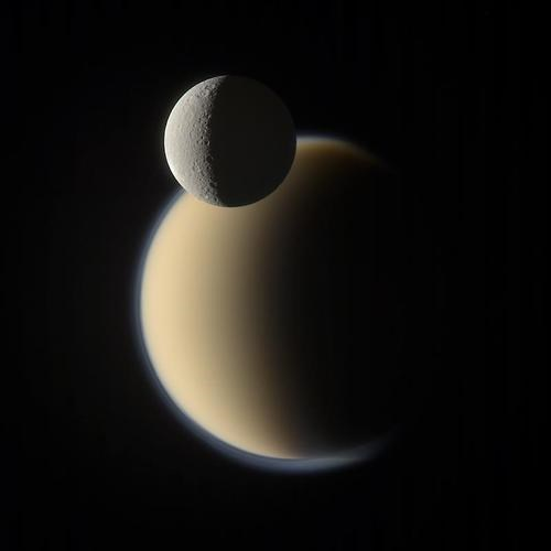 Cassini's Shot of the Moons Titan and Rhea