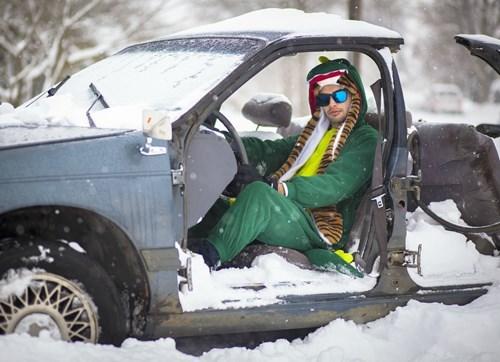 scarf,onesie,sunglasses,poorly dressed,tiger