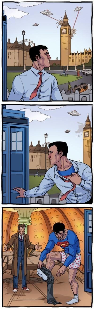 tardis,11th Doctor,superman,web comics