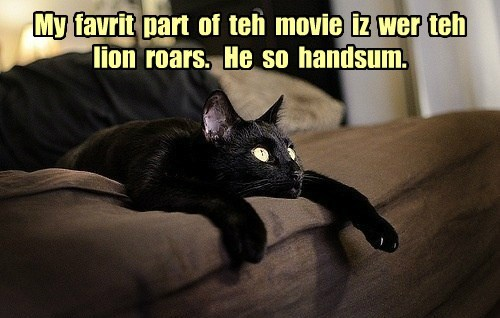 My  favrit  part  of  teh  movie  iz  wer  teh  lion  roars.   He  so  handsum.