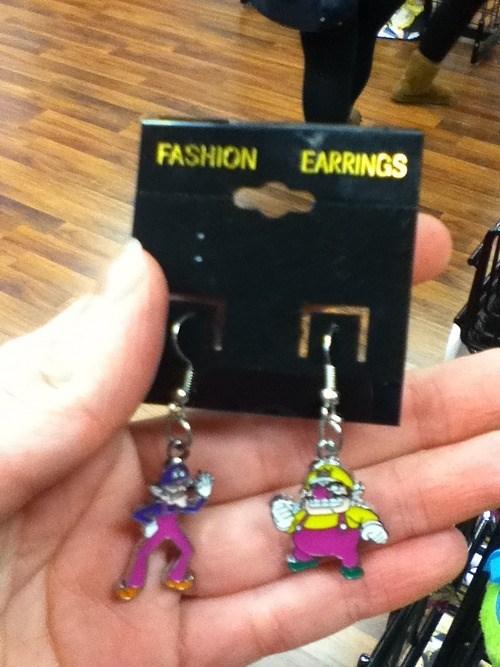 earrings,poorly dressed,waluigi,wario