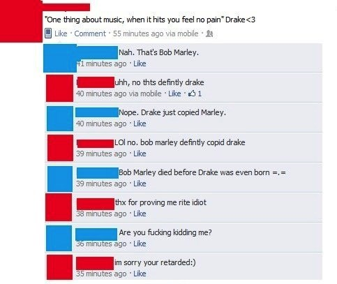 Started From the Bottom and Now We're Here, on an Idiot's Facebook