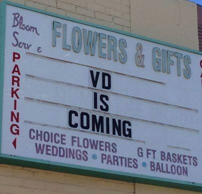 sign,STD,flowers,funny,Valentines day