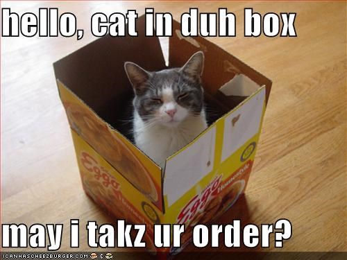 hello, cat in duh box  may i takz ur order?