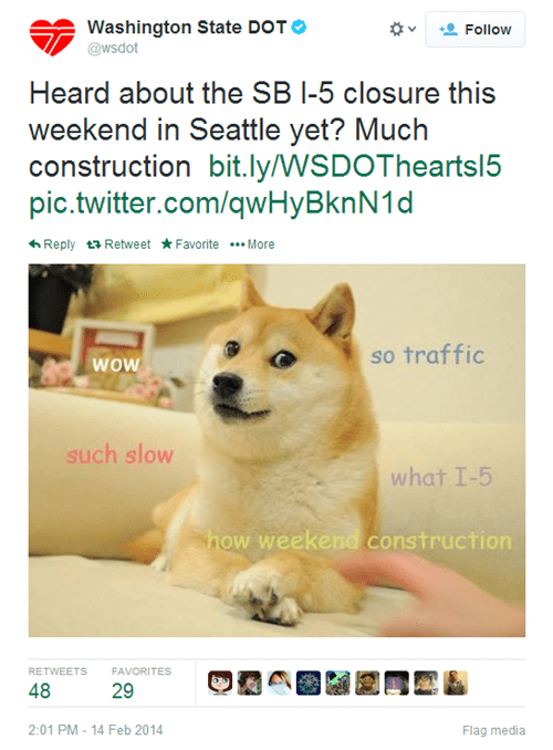 Washington State's Department of Transportation Tweets a Doge Joke, Confirming Doge Might Have Never Been Funny