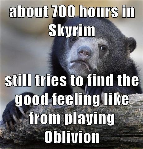 about 700 hours in Skyrim  still tries to find the good feeling like from playing Oblivion