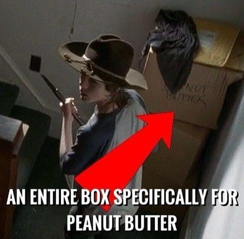 peanut butter,carl grimes,pudding