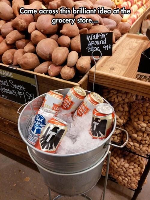 groceries,beer,walkin around beer,grocery store