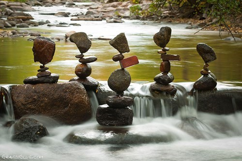 balancing rocks in a creek