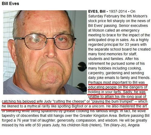 hilarious obituary