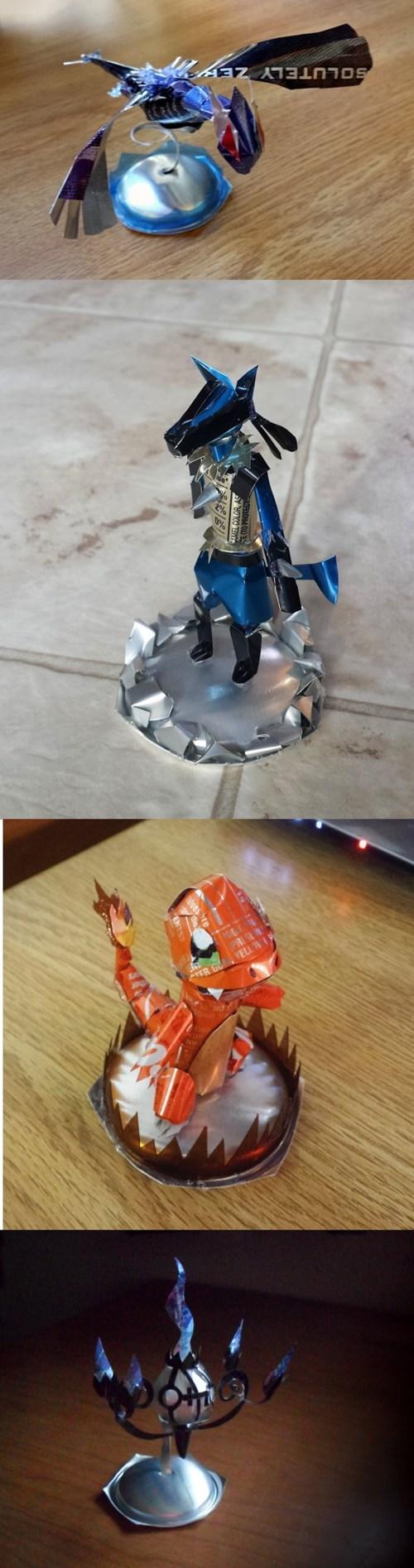 Pokémon,soda cans,sculptures