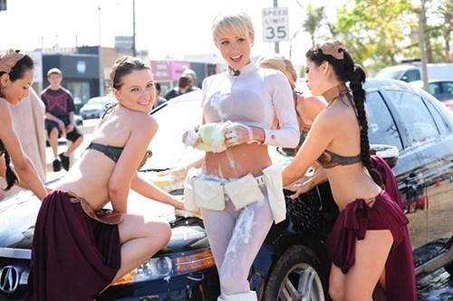 cosplay,car wash,star wars,Princess Leia
