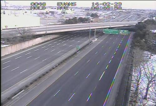 This is a Traffic Cam Shot of the Busiest Section of Ontario Highway 401 in Toronto During the Gold Medal Men's Hockey Game on Sunday