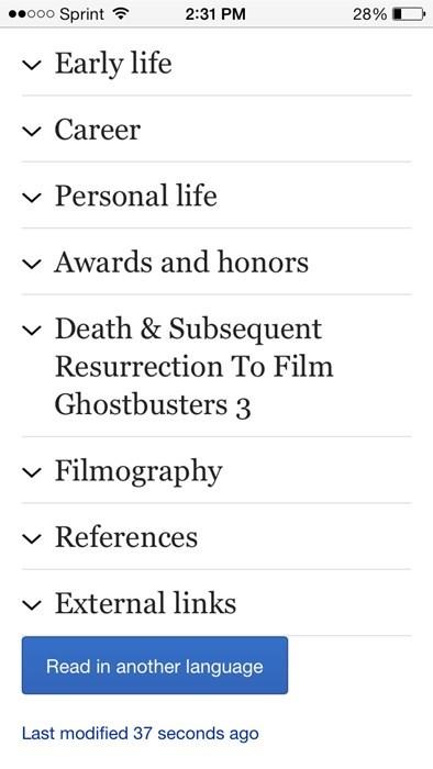 Ghostbusters 3,harold ramis,wikipedia