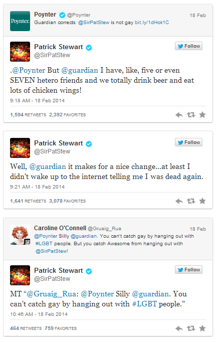 The Guardian Prints That Patrick Stewart is Gay, and Stewart Has the Perfect Response